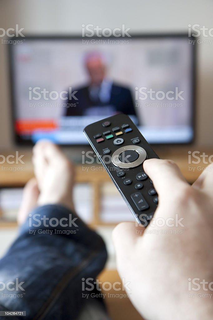 Watching tv stock photo