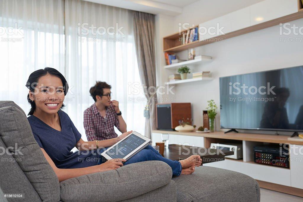 Watching tv programs stock photo