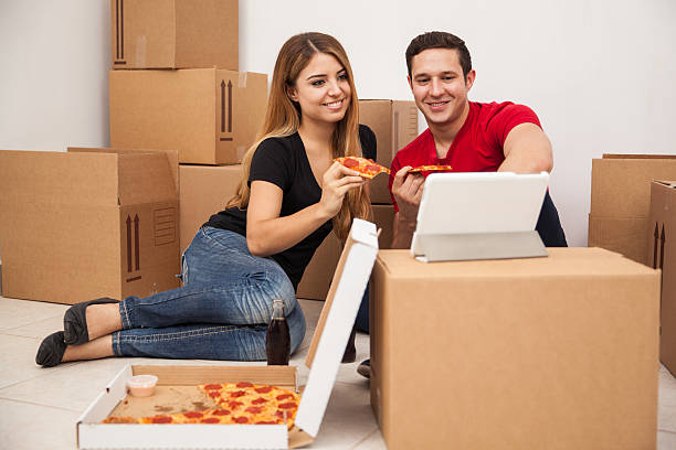 Watching TV while moving stock photo