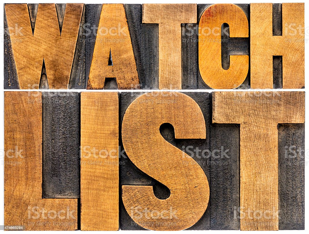 watchlist word typography in wood type stock photo
