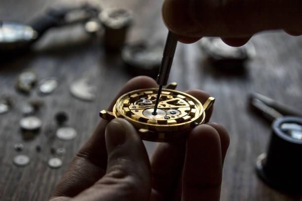 Watchmaker's workshop stock photo