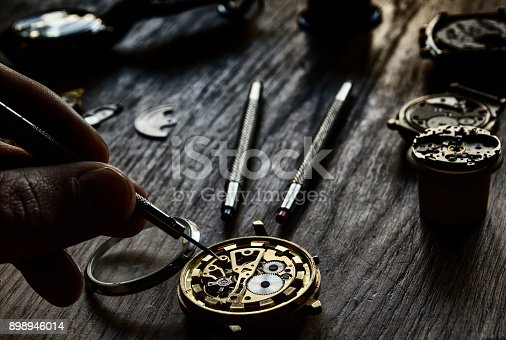 istock Watchmaker's workshop, watch repair 898946014