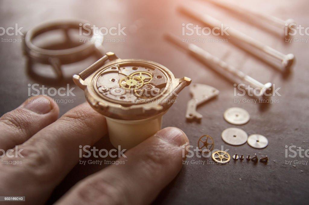 Watchmaker's workshop, watch repair stock photo