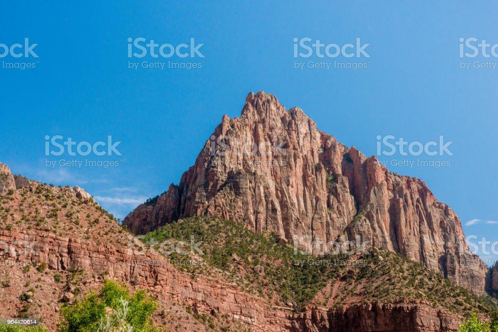 Paisagem de vigia montanha pico na primavera Zion National Park de Utah - Foto de stock de Beleza natural - Natureza royalty-free