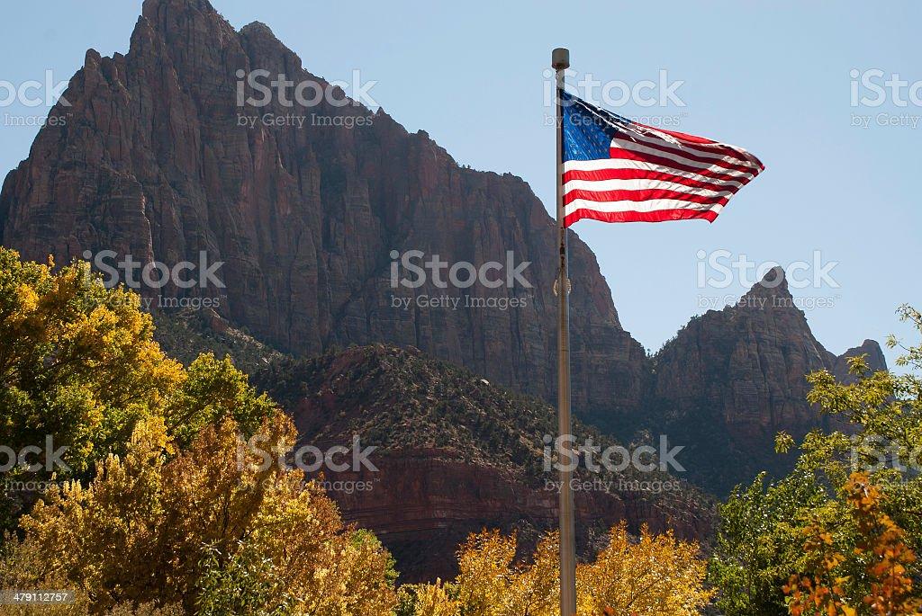 Watchman Peak and US Flag Autumn Zion National Park Utah stock photo