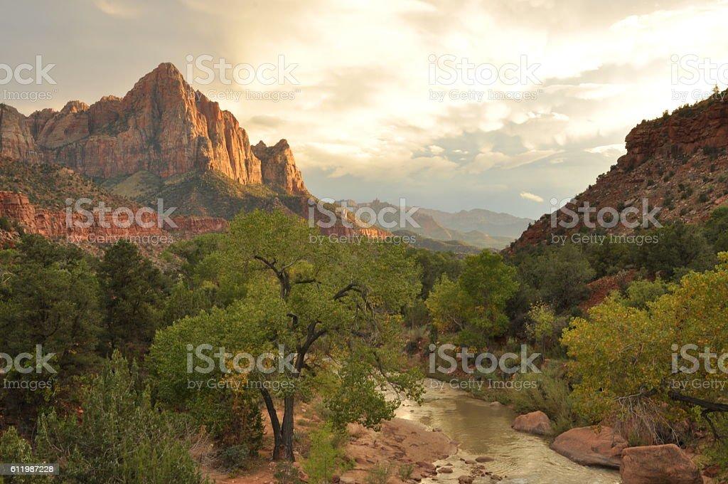 Watchman Peak, Zion National Park stock photo