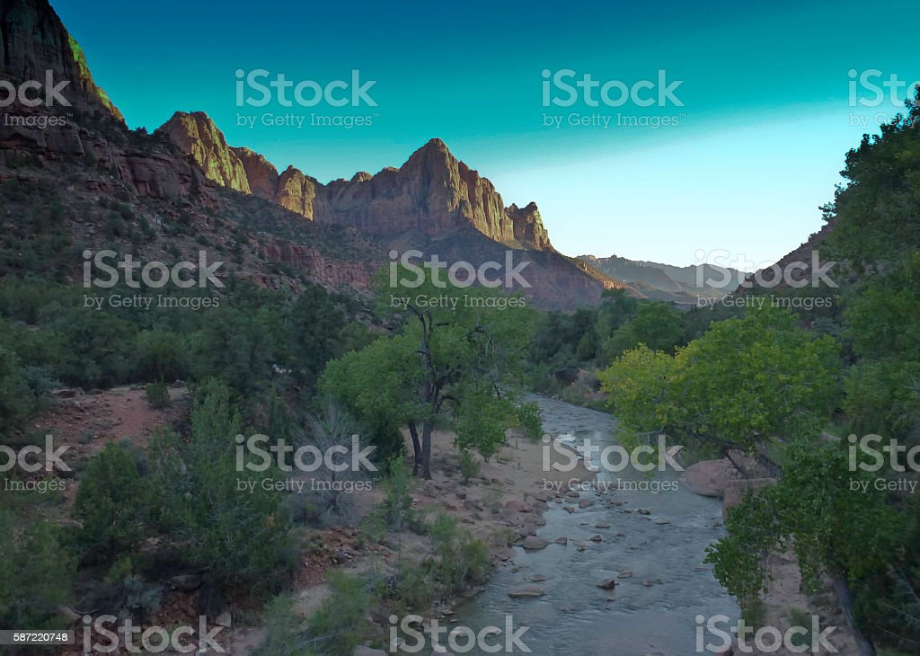 Watchman Rock  in afternoon 2, Zion National Park stock photo