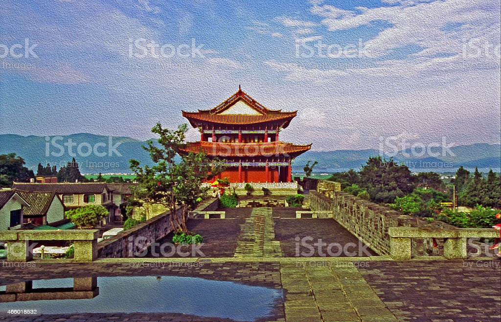 watchtower and city wall in Dali, China, oil paint stylization stock photo