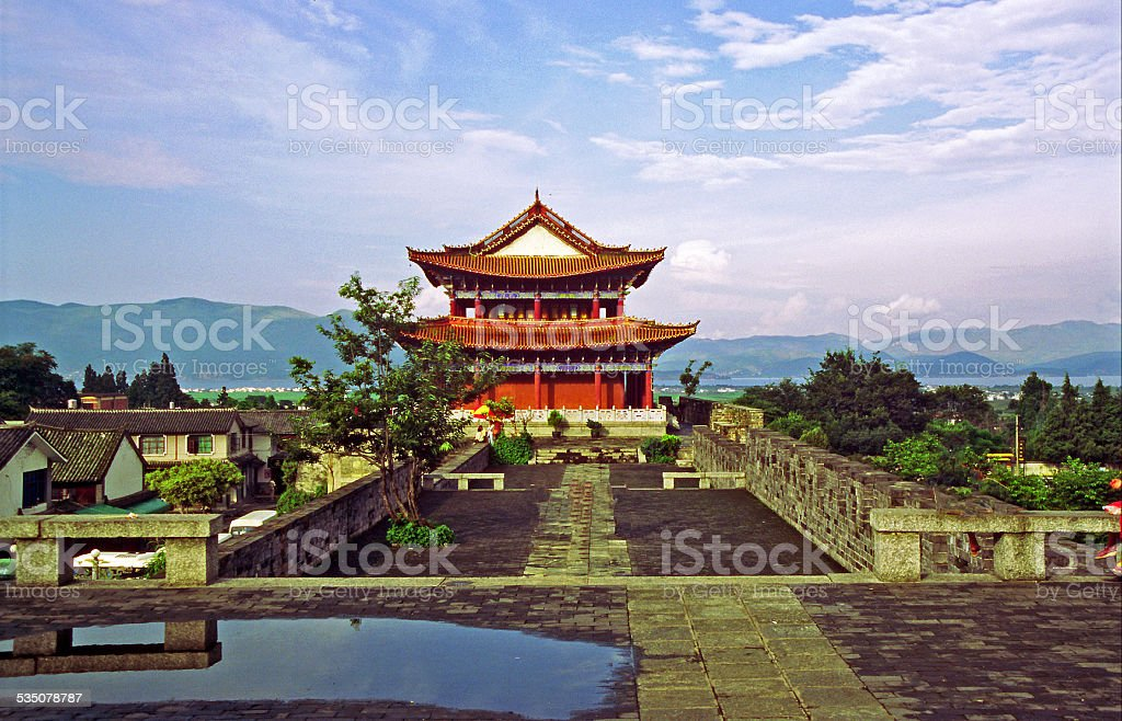 watchtower and city wall in Dali, China stock photo