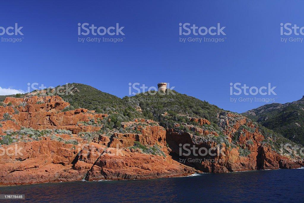Watchtower at Scandola stock photo