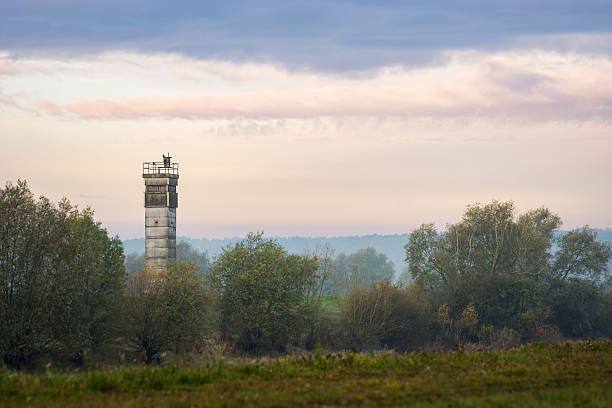 Watchtower at the former inner german Border stock photo