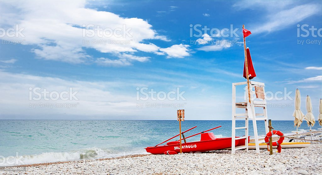 watchtower for rescue at sea stock photo