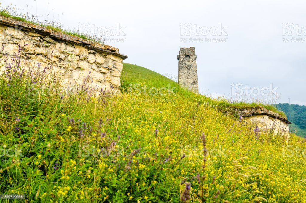Watchtower in Alanian necropolis in North Ossetia stock photo