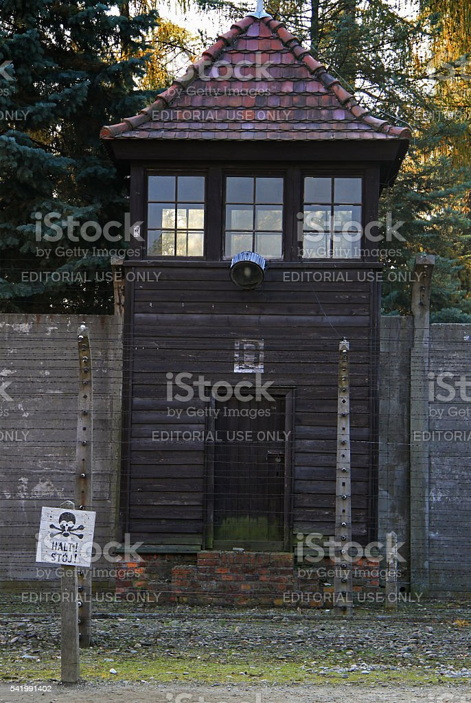 watchtower in Auschwitz I concentration camp stock photo
