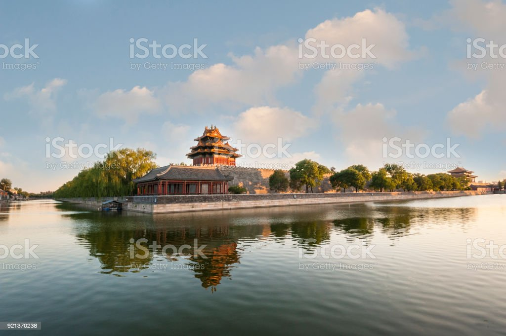 Watchtower of Forbidden City at dusk stock photo