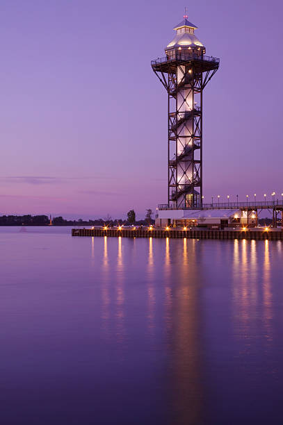 Watchtower on a Bay at Sunset stock photo