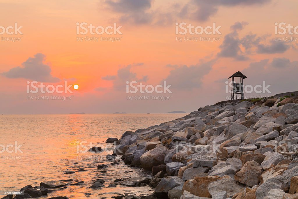 watchtower on coast stock photo