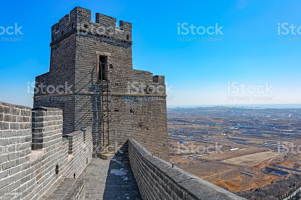 Watchtower on Great China wall stock photo