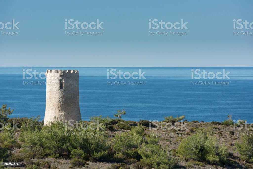 Watchtower on the northwestern part of the Greek Island of Chios stock photo