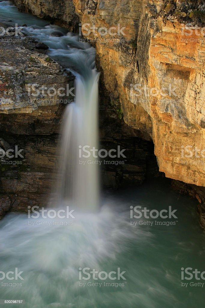 Watefall in Beauty Creek canyon, Jasper national park in Alberta stock photo