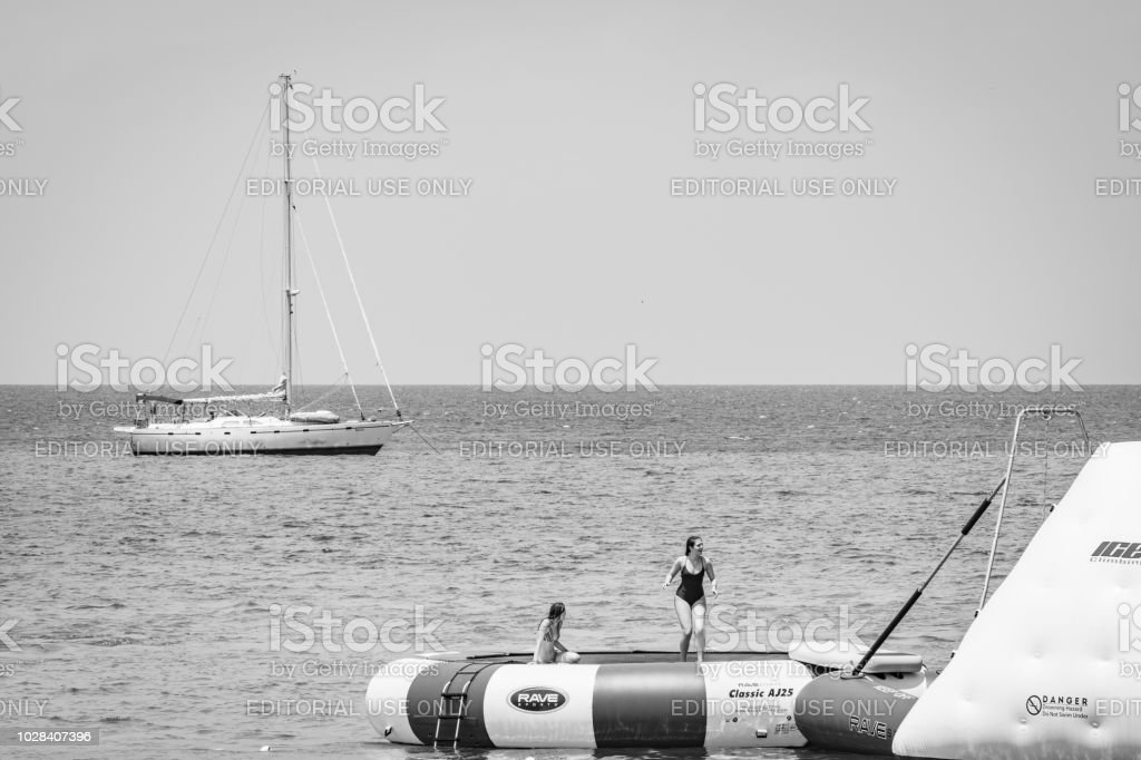 Water activities in Montego Bay, Jamaica stock photo