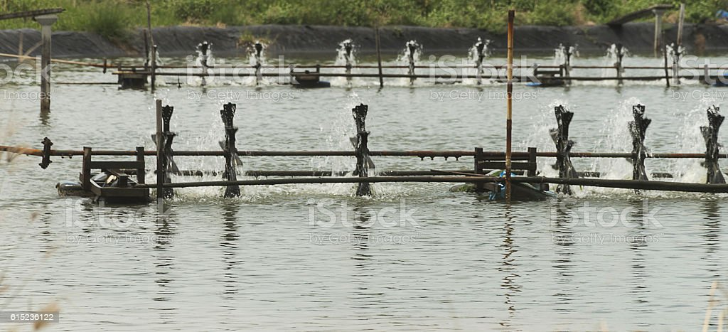 Water aeration turbine in farming aquatic. stock photo