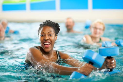 A group doing water aerobics