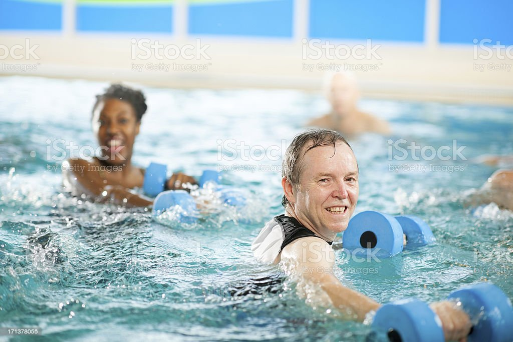 Water aerobics group stock photo