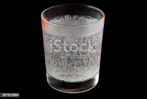 1169153675 istock photo Water and bubbles in a glass isolated on a black background 937920884