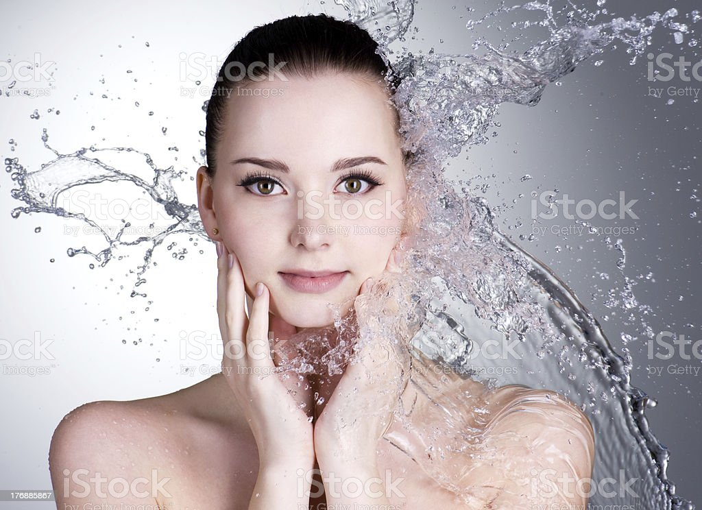 Water and  face of beautiful sexy woman royalty-free stock photo