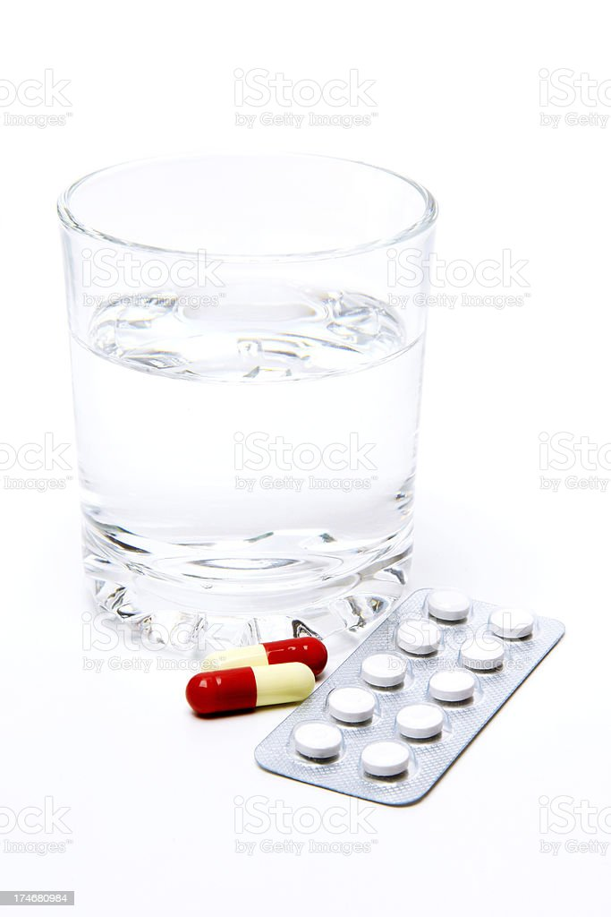 Water and Pills royalty-free stock photo