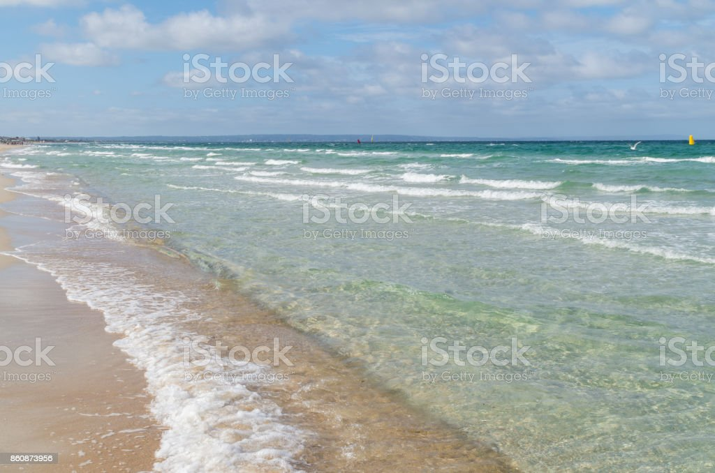 Water and sand at Aspendale Beach in Melbourne, Australia stock photo