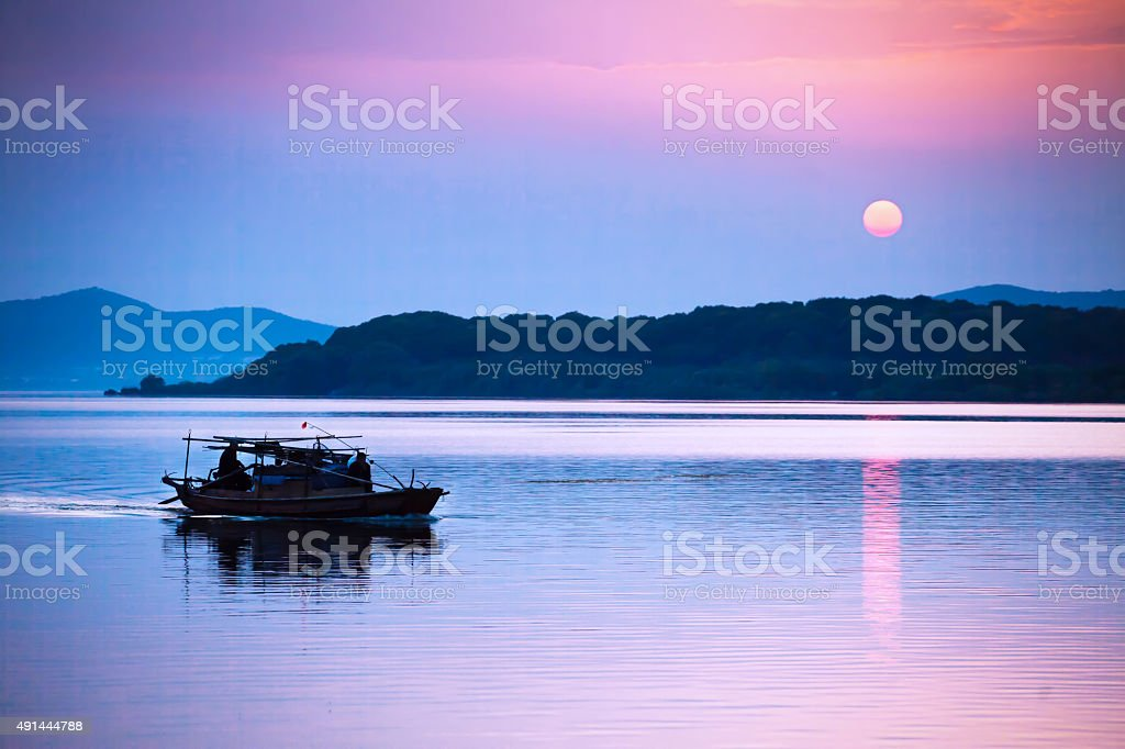 Water and sky merge in one color ,Lake Tai stock photo