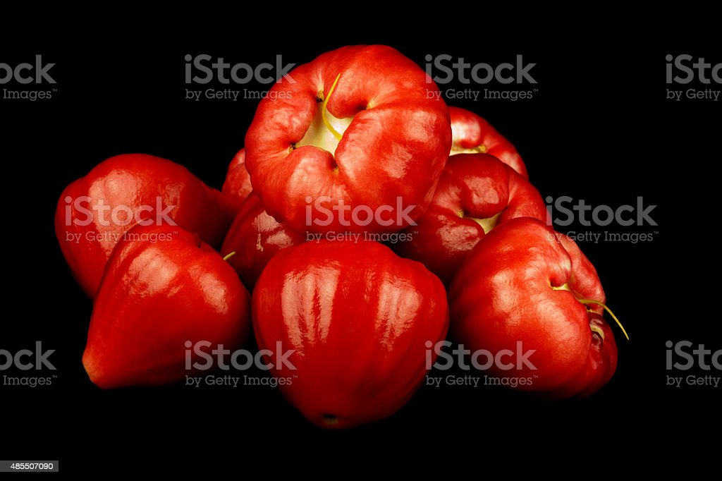 Water Apples or Jambu Air on Black Background stock photo