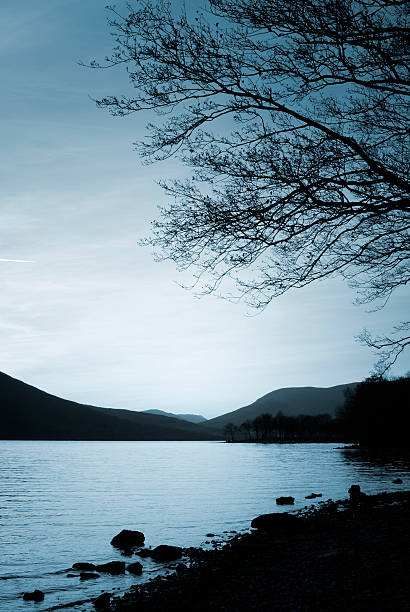 Water at dusk with silhouetted mountains and trees Sunrise beside tree lined Loch Ness in Inverness Scotland inverness scotland stock pictures, royalty-free photos & images