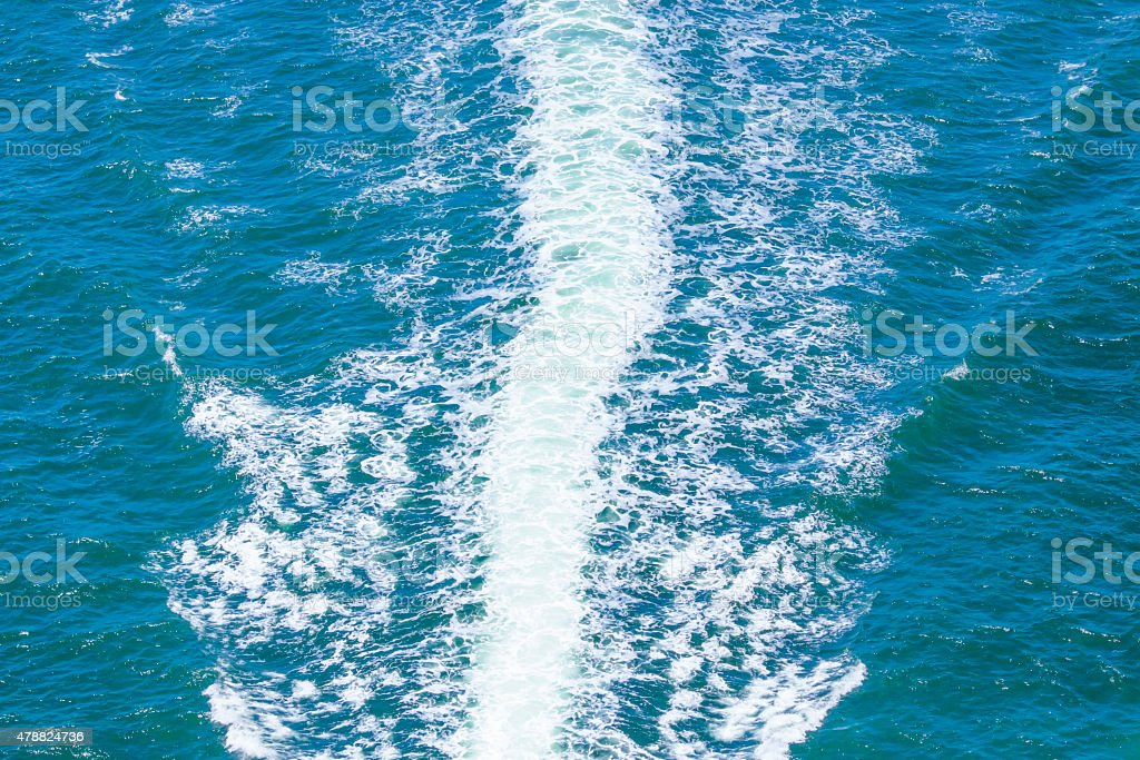 Water background with splashing water from speedboat, copy space stock photo