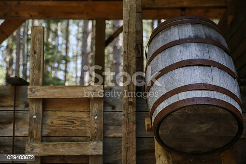 hanging water barrel at the farm