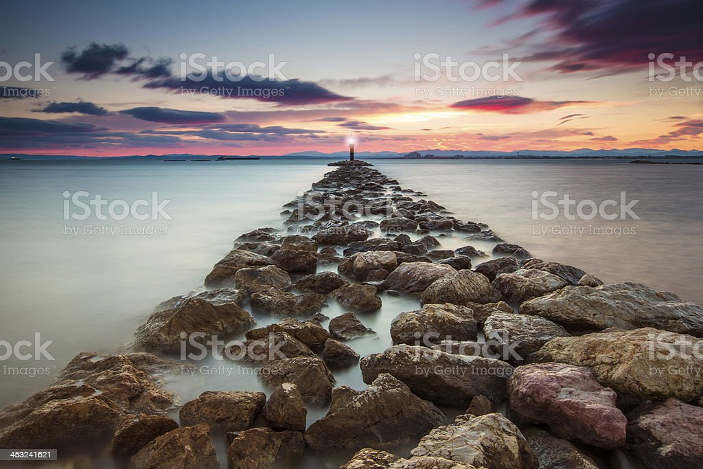 Water barrier lighthouse royalty-free stock photo