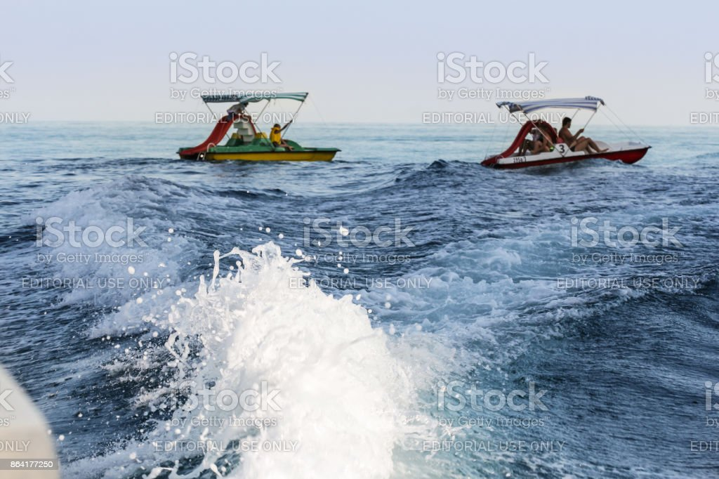 Water bicycles in the sea. royalty-free stock photo