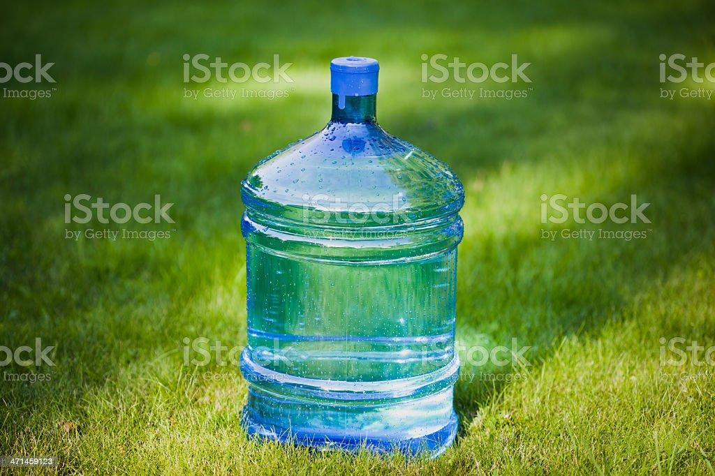 Grande Bottiglia Dacqua Su Sfondo Verde Erba Fotografie Stock E