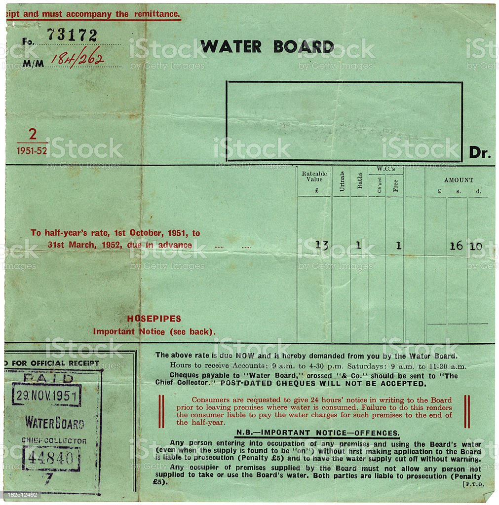 Water bill and receipt from 1951 royalty-free stock photo