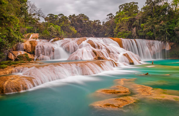 Water Blue Cascades, Chiapas, Mexico stock photo