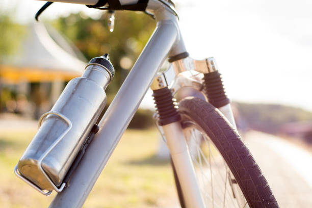 Water bottle. Bicycle bottle. Steel bottle. Drink bottle. stock photo