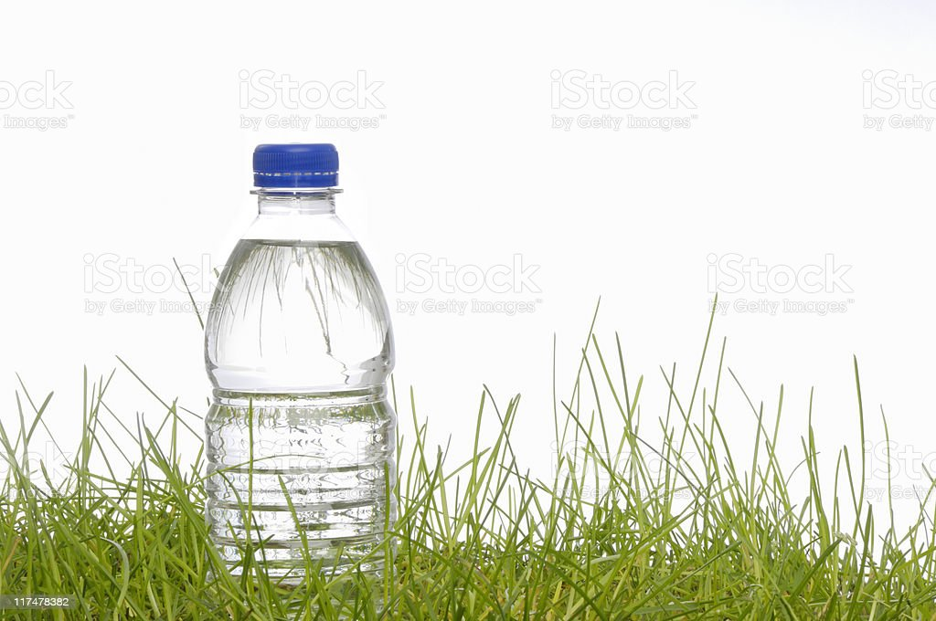 water bottle in the grass royalty-free stock photo