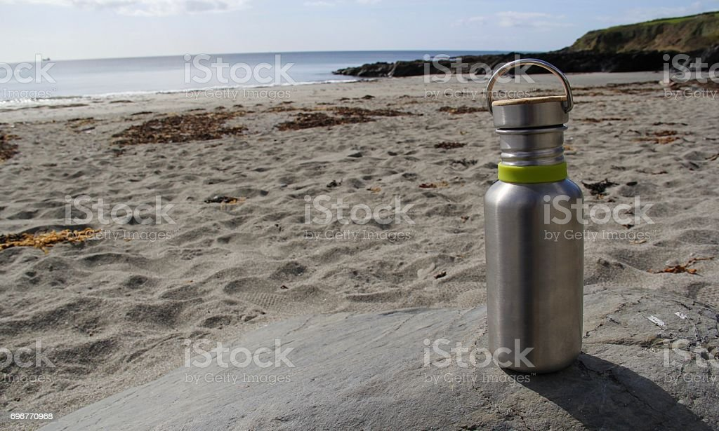 Water Bottle on Corninsh Beach stock photo
