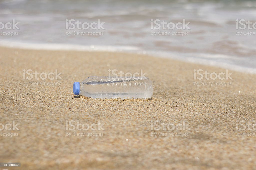 Water bottle on the beach royalty-free stock photo