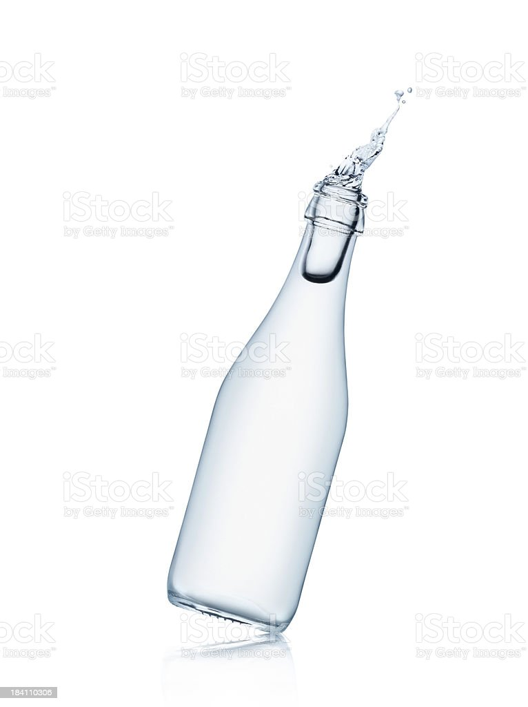Water bottle splashing stock photo