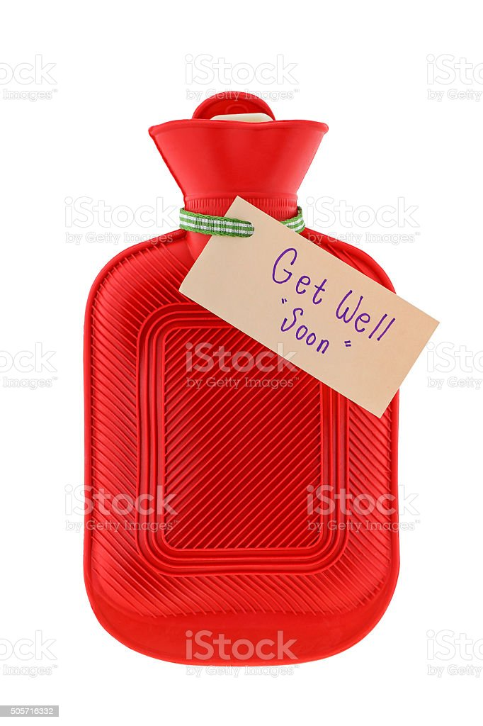 Water bottle with a paper written Get Well Soon stock photo
