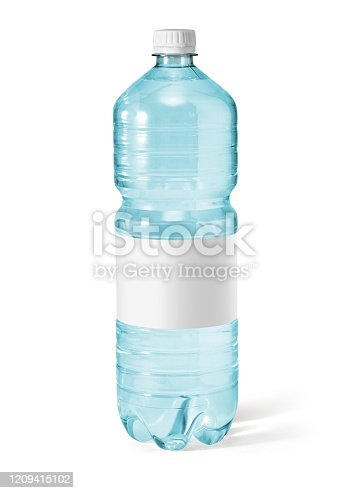 istock Water bottle with blank label. Isolated on white 1209415102