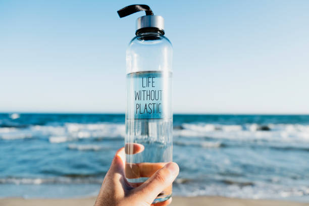 water bottle with the text life without plastic - sustainability stock pictures, royalty-free photos & images